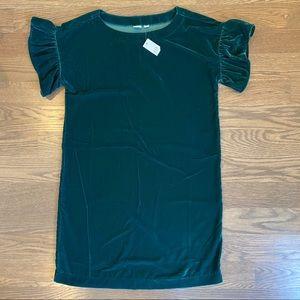 Gap - velvet green shift dress